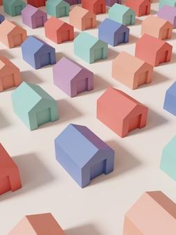 Renderowanie 3d multi pastelowe kolory studio shot miniaturowe lub tęczowe układanki bloki domy tło