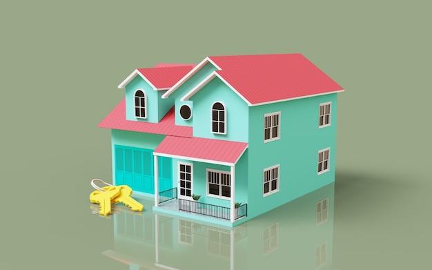 Renderowanie 3d na zewnątrz ilustracji modelu domu z kluczami promocja sprzedaży