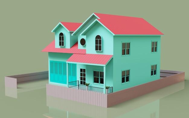 Renderowanie 3d na zewnątrz ilustracji modelu domu