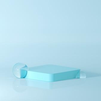 Renderowanie 3d nagradza podium w harmonii z kropelkami wody.