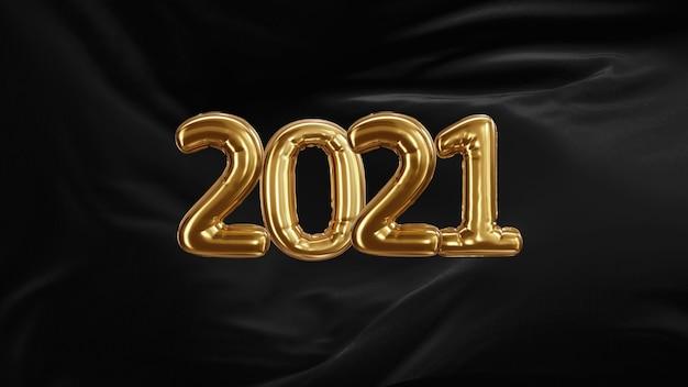 Renderowanie 3d napis 2021 ze złotych balonów z czarnego jedwabiu rozwijającej się tkaniny