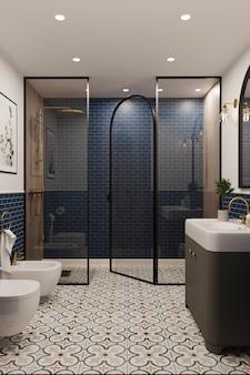 Renderowanie 3d. narożnik hotelowej łazienki ze ścianami wyłożonymi niebieskimi kafelkami. klasyczny styl.