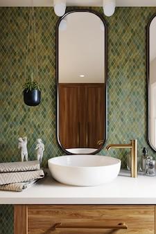 Renderowanie 3d. Narożnik Hotelowej łazienki Ze ścianami Wyłożonymi Zielonymi Kafelkami, Dużym Lustrem I Białą Umywalką. Klasyczny Styl. Renderowanie 3d Premium Zdjęcia