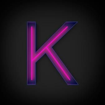 Renderowanie 3d, neonowa czerwona wielka litera k świeci wewnątrz niebieskiej litery.