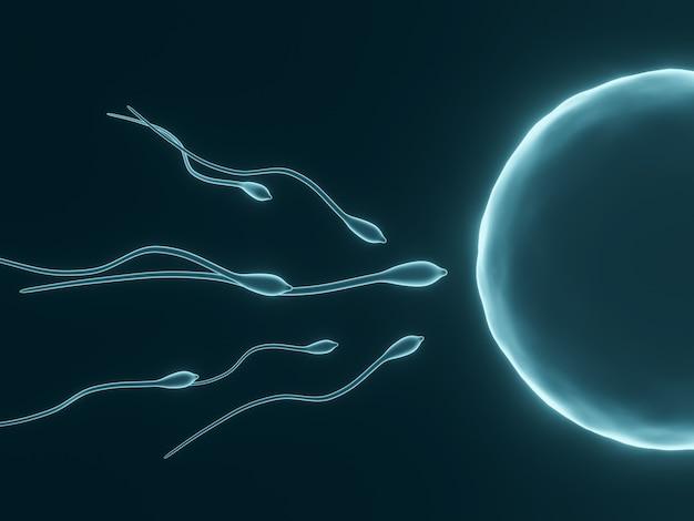 Renderowanie 3d. niebieski mikroskopijny plemnik i komórka jajowa.