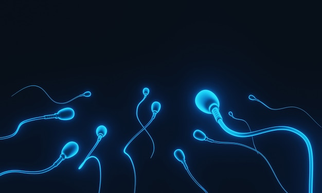 Renderowanie 3d. niebieskie mikroskopijne plemniki.