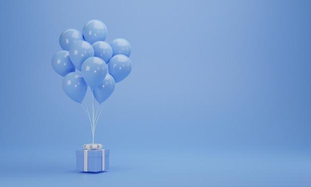 Renderowanie 3d. niebieskie pudełko z balonami na pastelowym tle z miejsca na kopię. minimalna koncepcja.