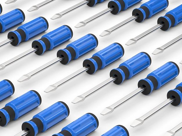 Renderowanie 3d niebieskie tło śrubokrętów