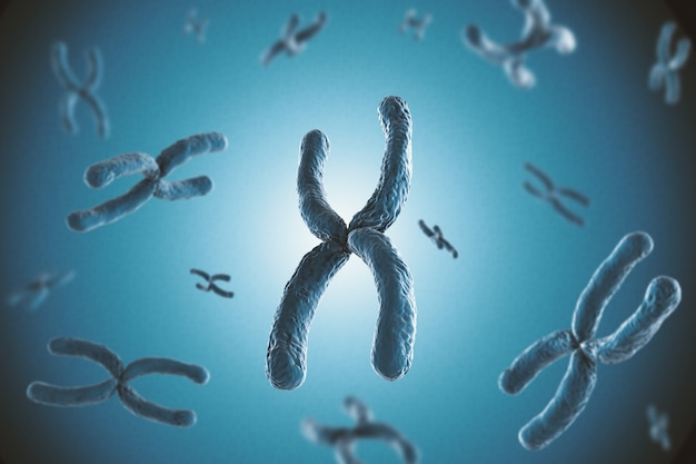 Renderowanie 3d niebieskiego chromosomu na niebieskim tle