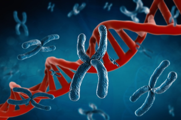Renderowanie 3d niebieskiego chromosomu z helisą dna na niebieskim tle
