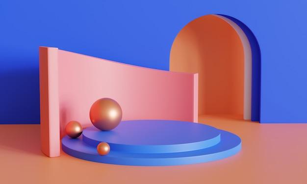 Renderowanie 3d niebieskiego i złotego podium na cokole na jasnej koncepcji tła, platforma do projektowania produktów kosmetycznych lub innego produktu 3d produkt pre