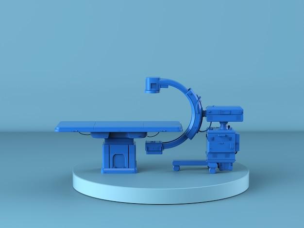 Renderowanie 3d niebieskiej maszyny z ramieniem c z monitorem na niebieskim tle