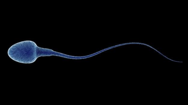 Renderowanie 3d niebieskiej spermy na czarnym tle