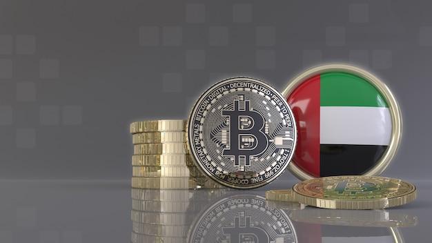 Renderowanie 3d niektórych metalicznych bitcoinów przed plakietką z flagą emiratów