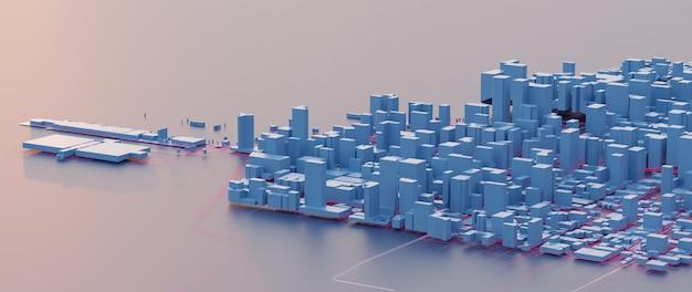 Renderowanie 3d. niskie widoki na miasto. koncepcje technologii miejskich.