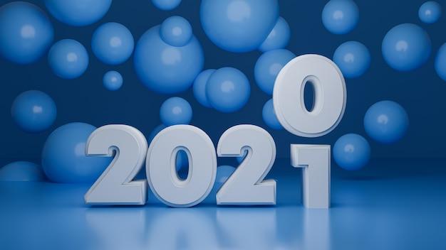 Renderowanie 3d nowego roku 2021 z okrągłymi niebieskimi balonami
