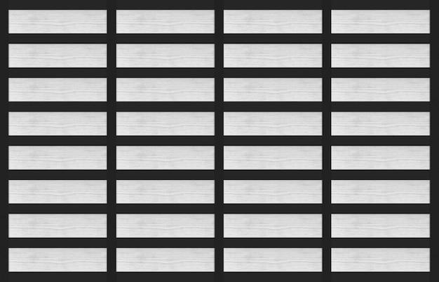 Renderowanie 3d. nowoczesny biały panel z drewna na tle czarnej ściany.