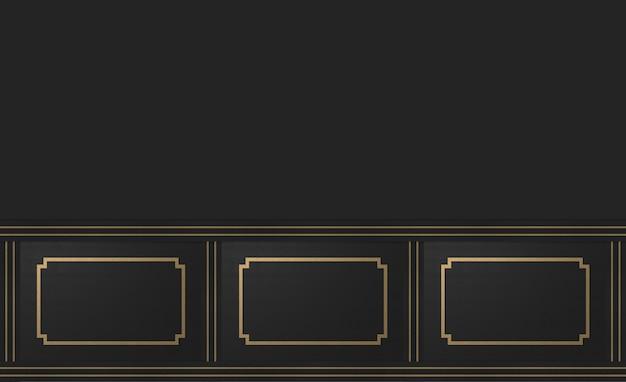 Renderowanie 3d. nowoczesny złoty kwadratowy klasyczny wzór ramy na ciemnym tle ściany cementowej.