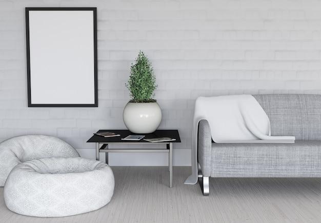 Renderowanie 3d nowoczesnych wnętrza pokoju z pustą ramką na zdjęcia