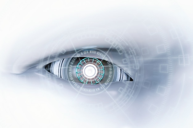 Renderowanie 3d oko cyborga z wirtualnym wyświetlaczem