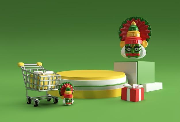 Renderowanie 3d onam kathakali twarz kreatywna scena minimalnej sceny podium dla reklam produktów wystawowych