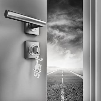 Renderowanie 3d Otwarte Drzwi Z Brelokami Startowymi Na Drodze Premium Zdjęcia