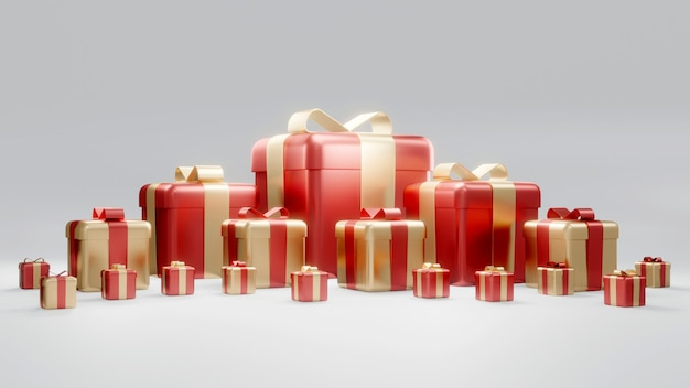 Renderowanie 3d owiniętych pudełek prezentowych z czerwonego złota koncepcja prezentów świątecznych i urodzinowych