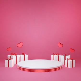 Renderowanie 3d ozdobne pudełko wokół stojaka na produkty, miłość i walentynki świętują,
