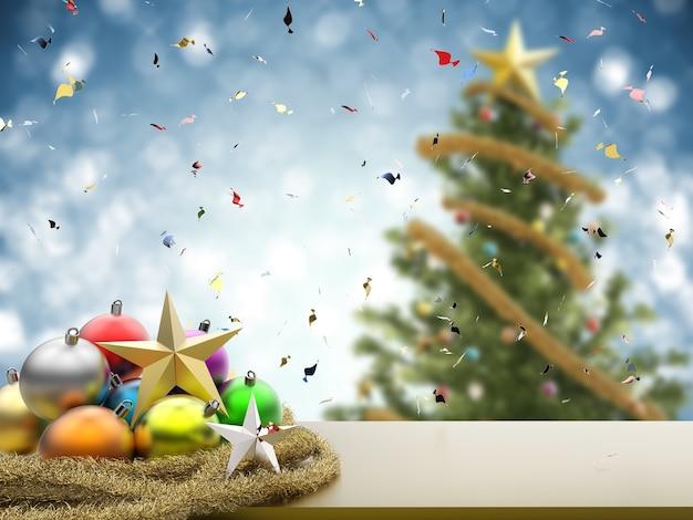 Renderowanie 3d ozdoby świąteczne z pustą przestrzenią na niebieskim tle