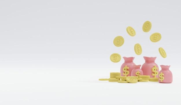 Renderowanie 3d pastelowe monety i worek pieniędzy z miejscem na tekst po lewej stronie na białym tle