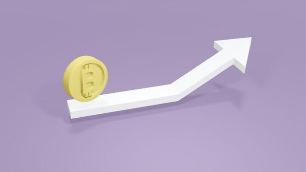 Renderowanie 3d pastelowej strzałki skierowanej w górę i monety b jako odnoszącej się do bitcoina na tle