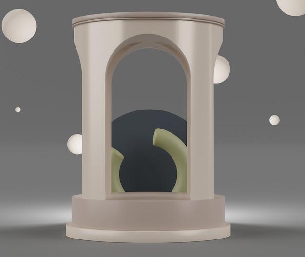 Renderowanie 3d pastelowych wyświetlaczy sceny podium do prezentacji makiet i produktów z minimalnym tłem.