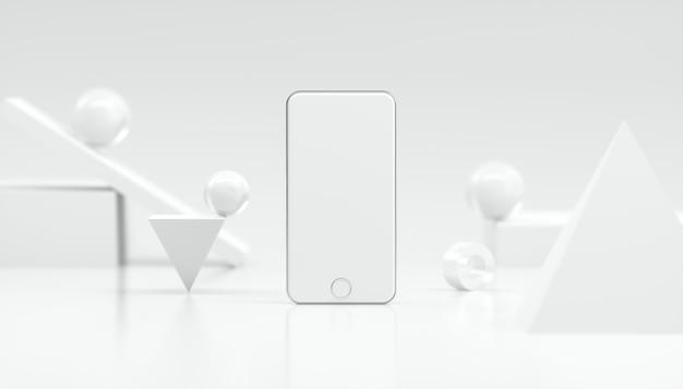Renderowanie 3d piękny biały makieta smartfona do reklamy