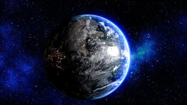 Renderowanie 3d. planeta ziemia w kosmosie - elementy tego obrazu dostarczone przez nasa