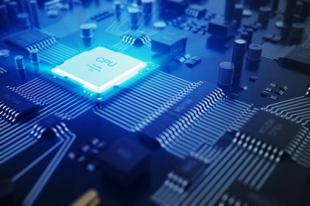 Renderowanie 3d płytka drukowana. technologia tło. koncepcja procesorów centralnych procesorów komputerowych