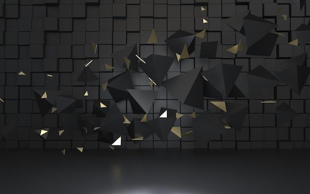 Renderowanie 3d pływających czarnych piramid z czarnymi kostkami