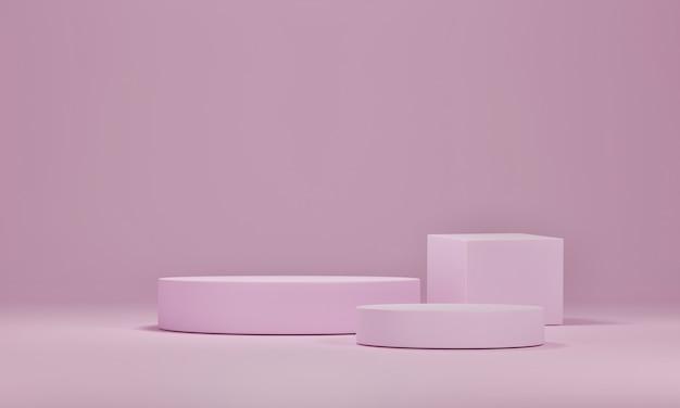 Renderowanie 3d. podium minimalny abstrakcyjny kształt geometryczny sceny. podium lub platforma do prezentacji produktów kosmetycznych.