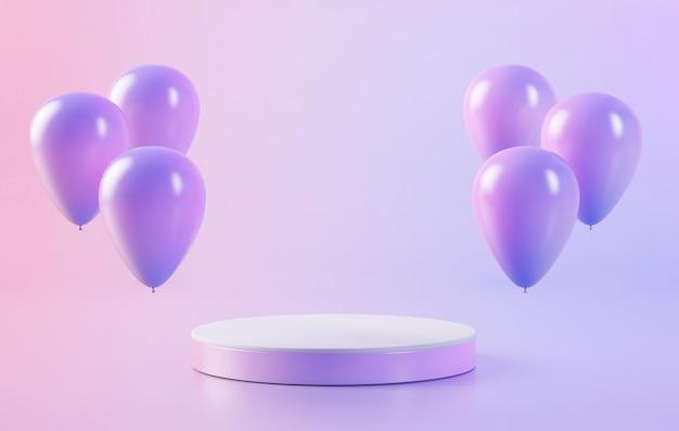 Renderowanie 3d podium otoczonego balonami