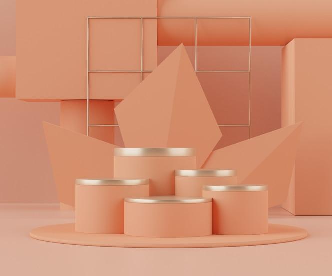 Renderowanie 3d podium z geometrycznymi kształtami