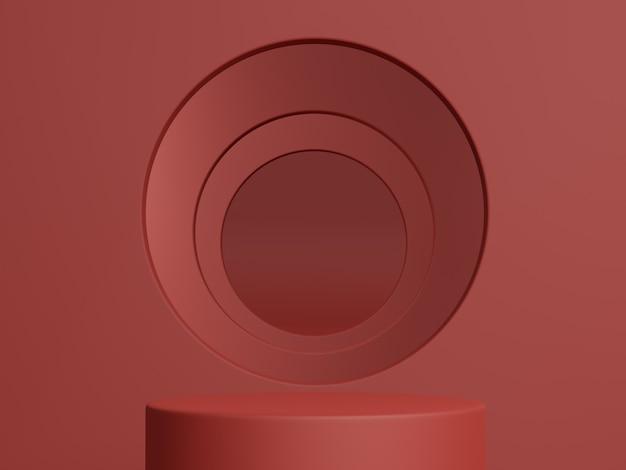 Renderowanie 3d. pokaż produkt kosmetyczny, pusta scena, czerwona minimalna ściana. prezentacja mody, gablota.