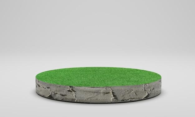 Renderowanie 3d. pole trawy ściętej koło. cement podium z zielonym trawnikiem na białym tle.