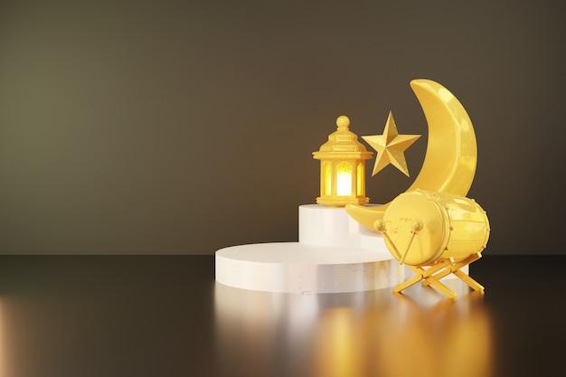 Renderowanie 3d półksiężyca i pluskwy (bębna) na białej scenie podium na tle transparentu ramadanu