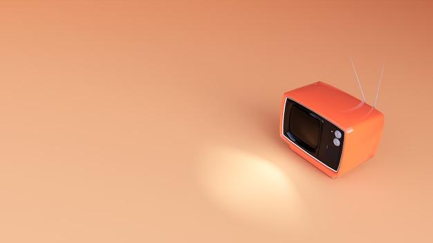 Renderowanie 3d pomarańczowego telewizora na tle koralowców