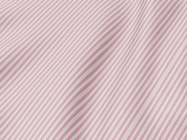 Renderowanie 3d. pomarszczona tkanina. różowe paski fala tło