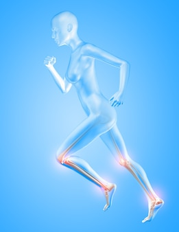 Renderowanie 3d postaci kobiecej biegnącej z podświetleniem kości kolan i kostek
