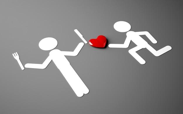 Renderowanie 3d postaci ludzi, z których jeden oferuje drugiemu serce, a drugi chce je zjeść
