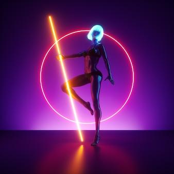 Renderowanie 3d, pozująca wirtualna modelka stojąca na scenie wewnątrz świecącego pierścienia neonowego. realistyczna lalka manekina.