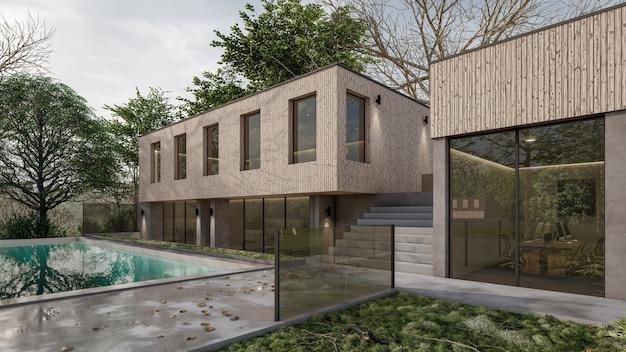 Renderowanie 3d projekt basenu architektonicznego domu