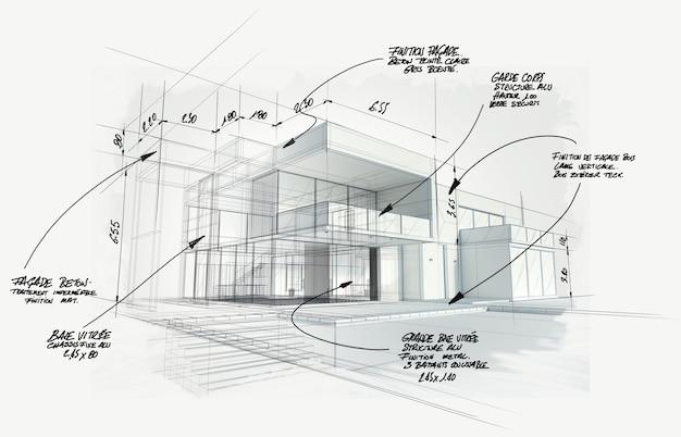 Renderowanie 3d projektu nowoczesnej architektury wysokiej klasy
