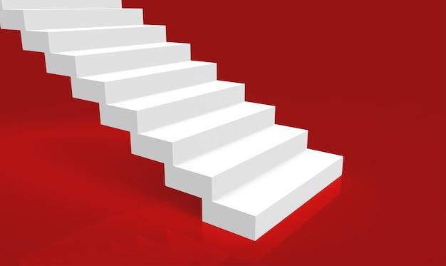 Renderowanie 3d. proste minimalistyczne białe schody na czerwonym tle pokoju.